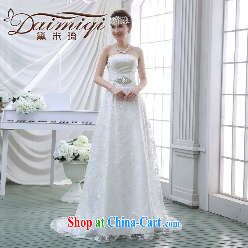 New 2015 wedding dresses bare chest small tail crowsfoot style beauty Korean bridal lace with the Code winter white M