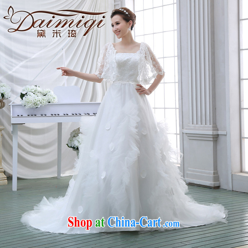 wedding dresses 2015 new summer wedding wedding lace stylish Korean long-tail field shoulder wedding white M
