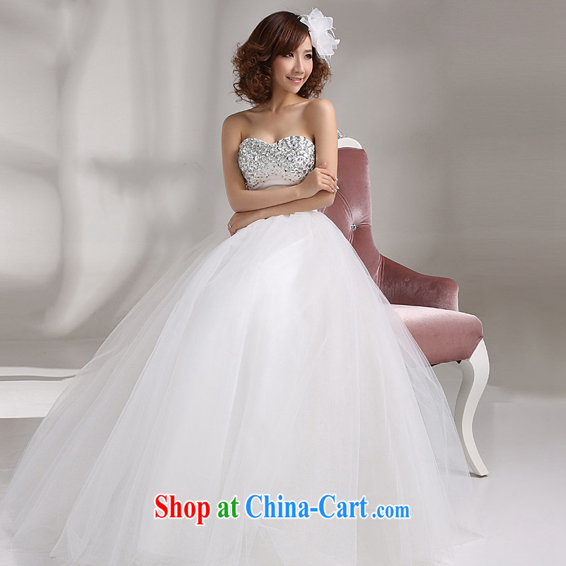 2015 Ho full Chamber new wedding dresses Korean modern luxury with parquet drill erase chest strap beauty wedding white white XL