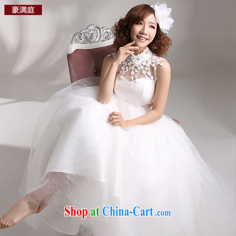 Ho full Chamber bridal 2015 new wedding dresses one shoulder short-sleeve lace Korean version the code with graphics thin wedding white XL