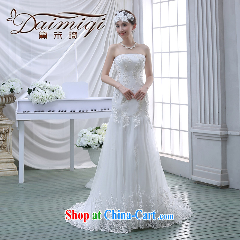 bare chest small tail wedding dresses new 2015 bridal simple Korean A field dress crowsfoot lace beauty with white M
