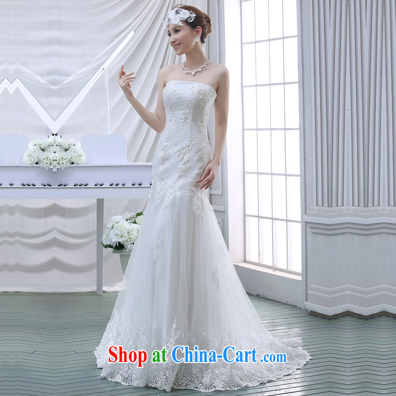 bare chest small tail wedding dresses new 2015 bridal simple Korean A field dress crowsfoot lace beauty with white M, Diane M Ki, shopping on the Internet