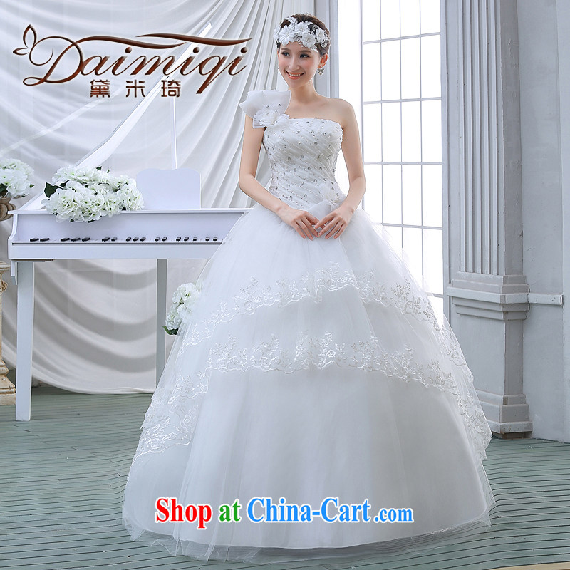 wedding dresses 2015 new spring and summer and stylish single shoulder flowers wood drill with wedding, thick mm video thin female white M
