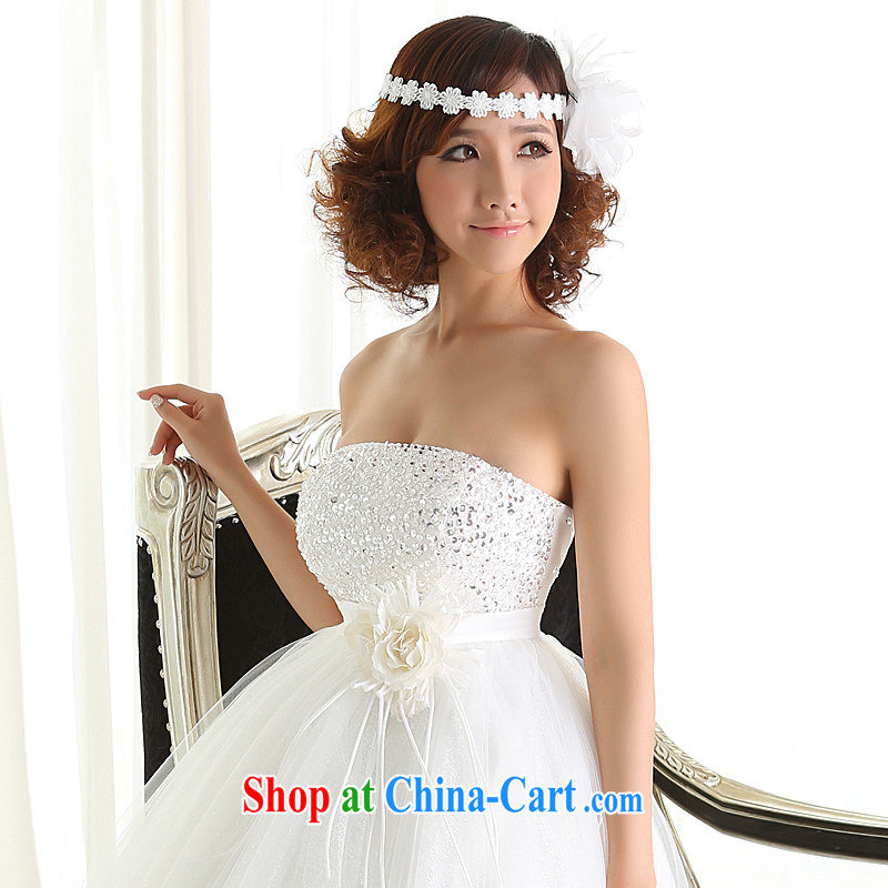 wedding dresses new 2015 Korean version with bare chest straps bridal graphics thin large, pregnant women wedding high-waist white XL