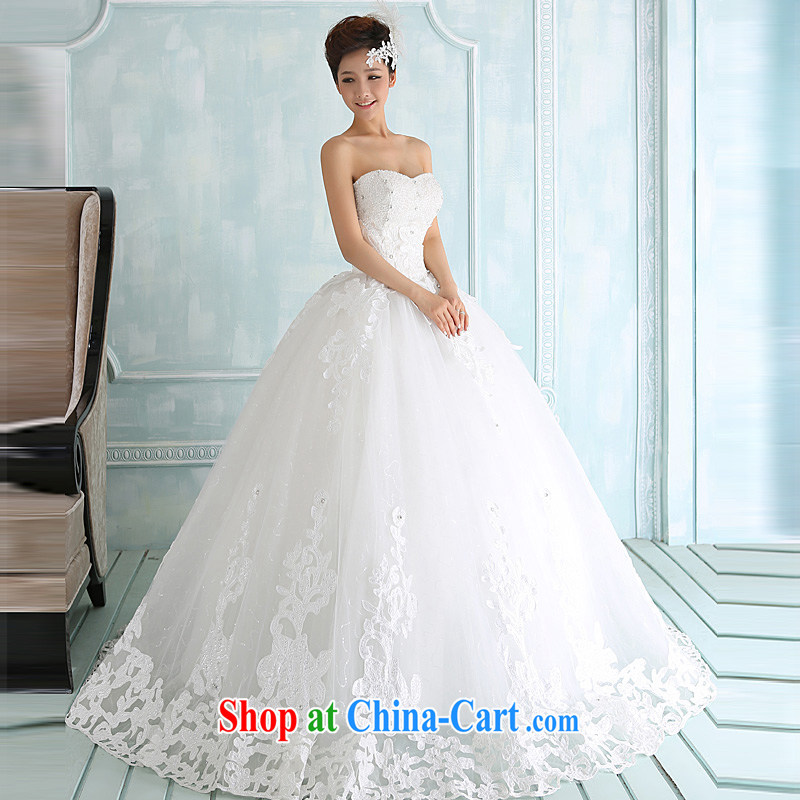 2015 new winter wedding dresses lace on-chip erase chest strap Korean version with wedding photo building theme clothing white white XL