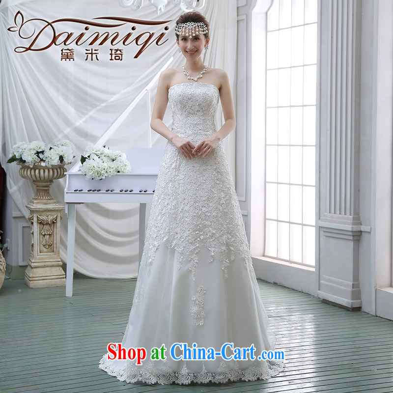 2015 Spring Summer wiped chest wedding beauty stylish Korean video skinny tail wedding lace inserts drill wedding white M