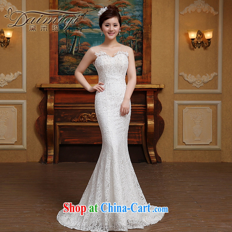 2015 new bridal wedding dresses spring Korean simple small tail erase chest crowsfoot wedding video thin summer white M