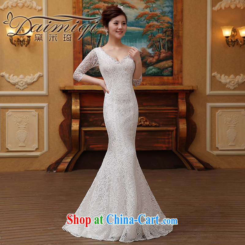 At Merlion wedding dresses 2015 new spring and summer brides field shoulder tail custom simple Korean Beauty graphics thin white M