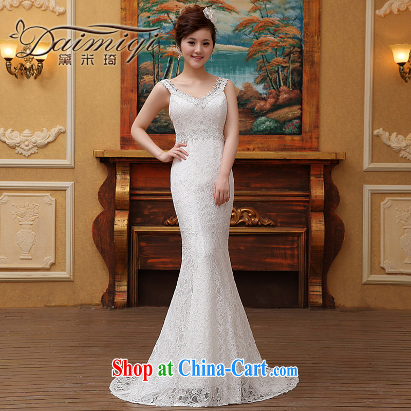 Spring 2015 new stylish Korean field shoulder Princess lace beauty graphics thin tail wedding dresses summer female white M