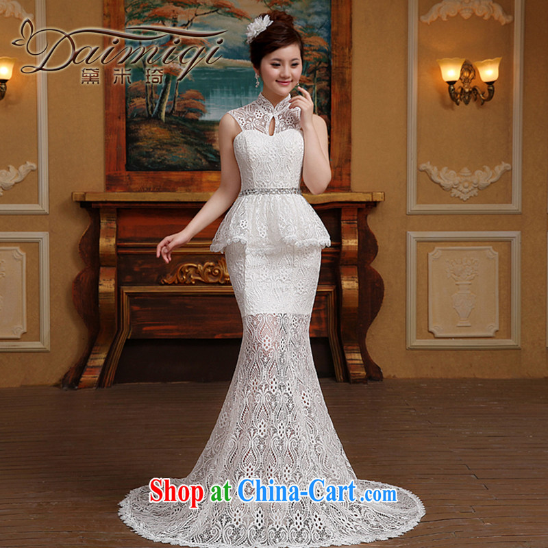 New 2015 wedding dresses retro crowsfoot lace style white yarn, for Openwork strap wedding photography white M