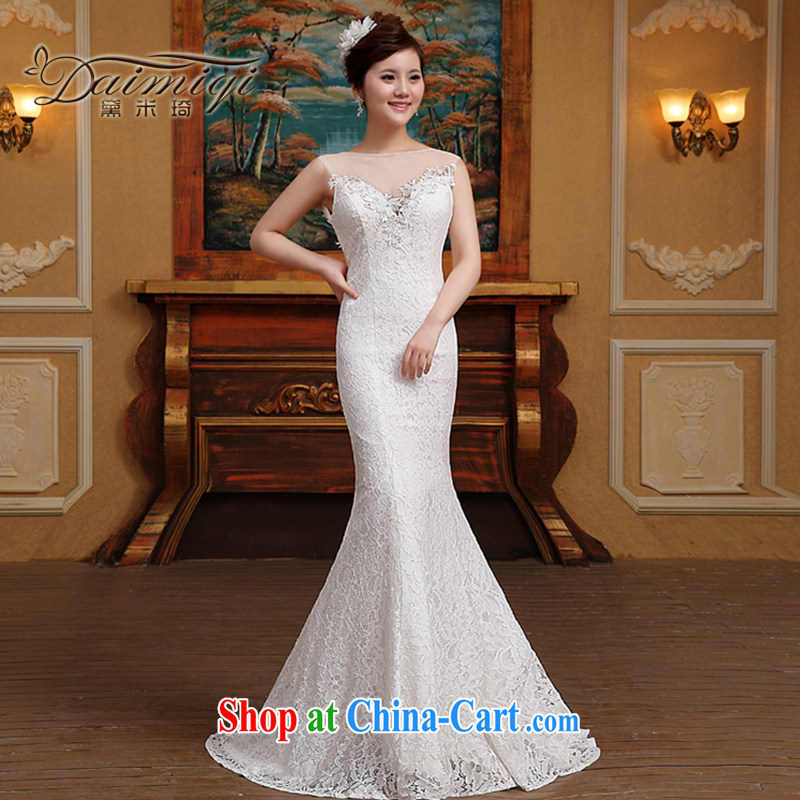 2015 new wedding Korean fashion a Field shoulder buds silk yarn small tail bridal wedding white M