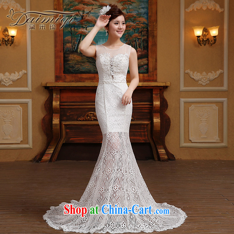 Spring 2015 new stylish one shoulder lace beauty graphics thin-waist crowsfoot small tail wedding dresses white M