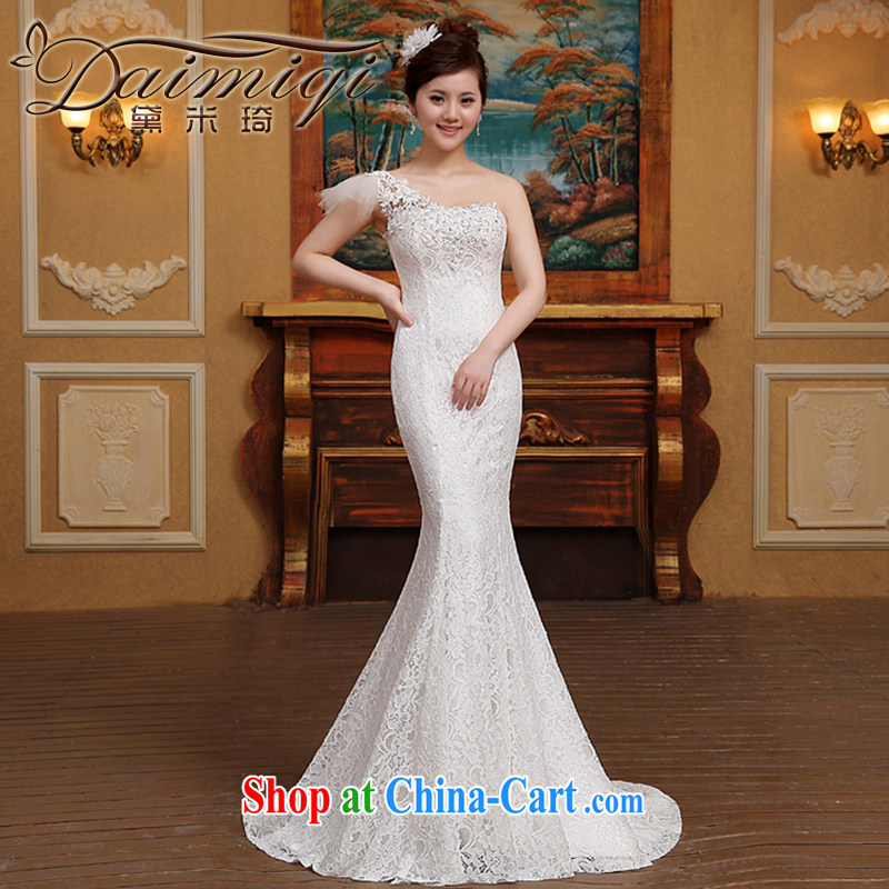 2015 new stylish wedding dresses Korean minimalist single shoulder-waist crowsfoot graphics thin lace tail retro white M