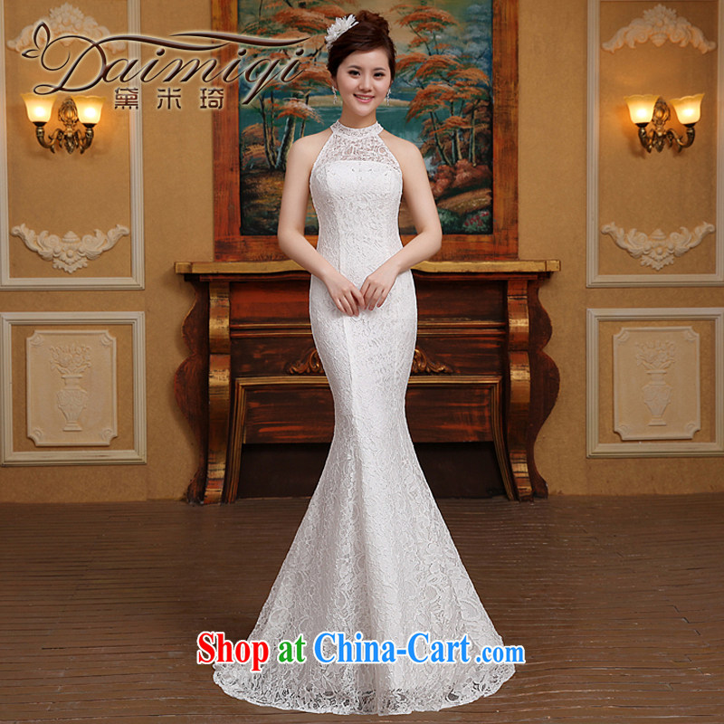 wedding dresses new 2015 spring bridal is also crowsfoot wedding tail lace beauty graphics thin dress white M