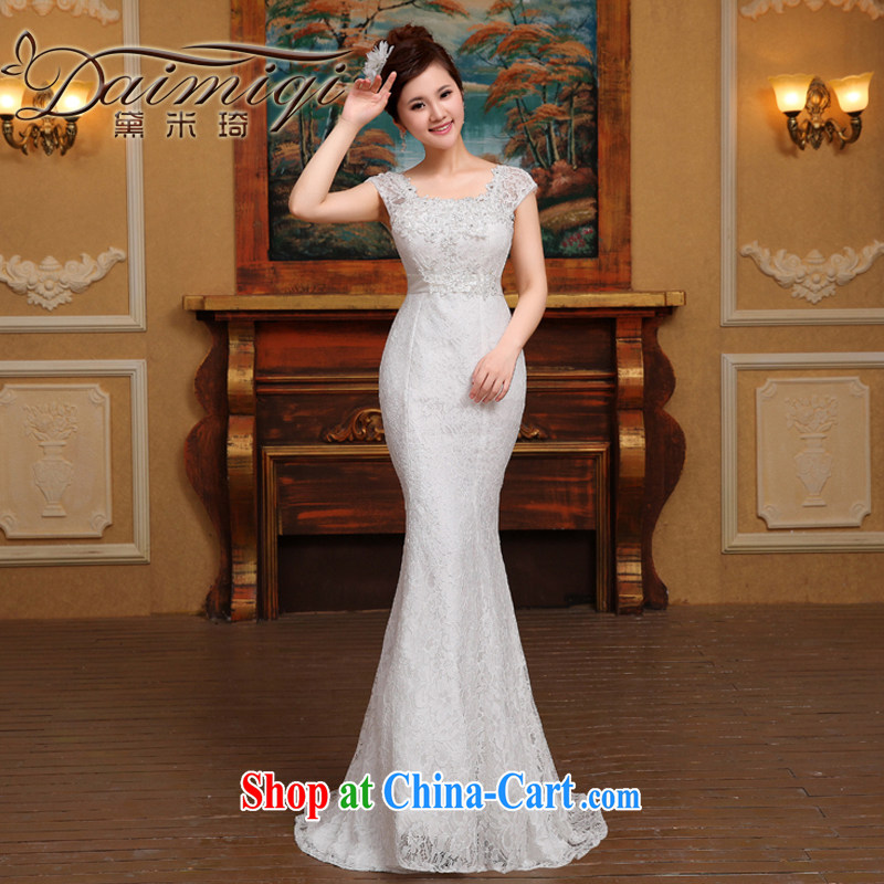2 cultivating crowsfoot wedding dresses a shoulder 2015 new small tail sexy luxury big graphics thin white M