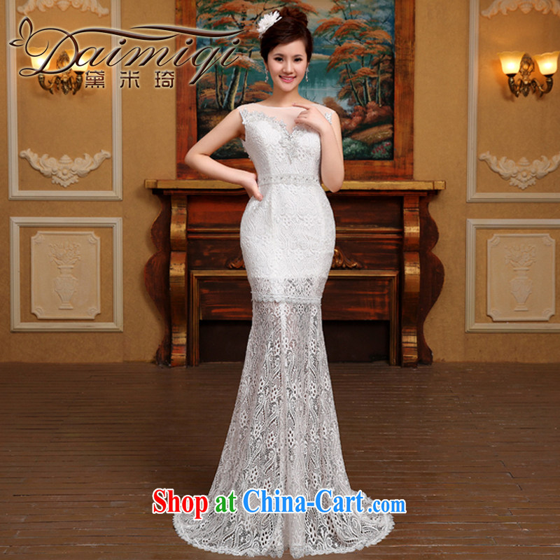 Cultivating crowsfoot wedding dresses white lace sexy exposed back 2015 new dual-shoulder retro bridal wedding dresses trailing white M