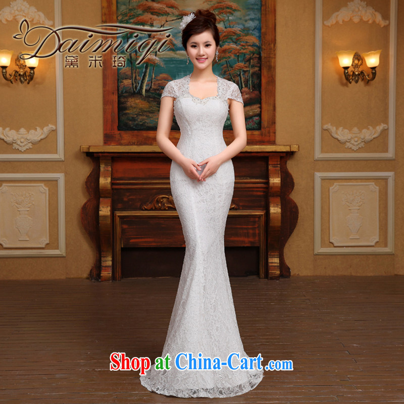 wedding dresses new spring 2015 the Field shoulder V collar tail crowsfoot marriages shoulders beauty lace wedding female white M