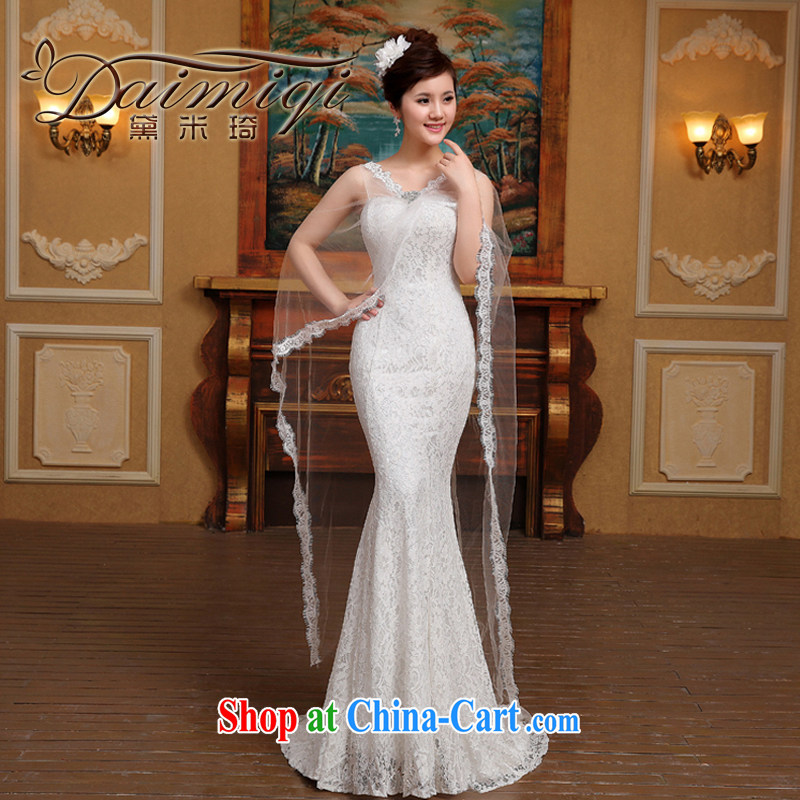 Bridal wedding dresses 2015 spring and summer new Korean-style tail stylish crowsfoot larger graphics thin Korean luxury double-shoulder white M