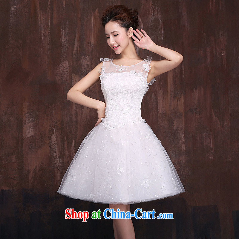 Bridal wedding dresses new 2015 stylish and simple Korean Princess short-field shoulder white beauty theme wedding short XL