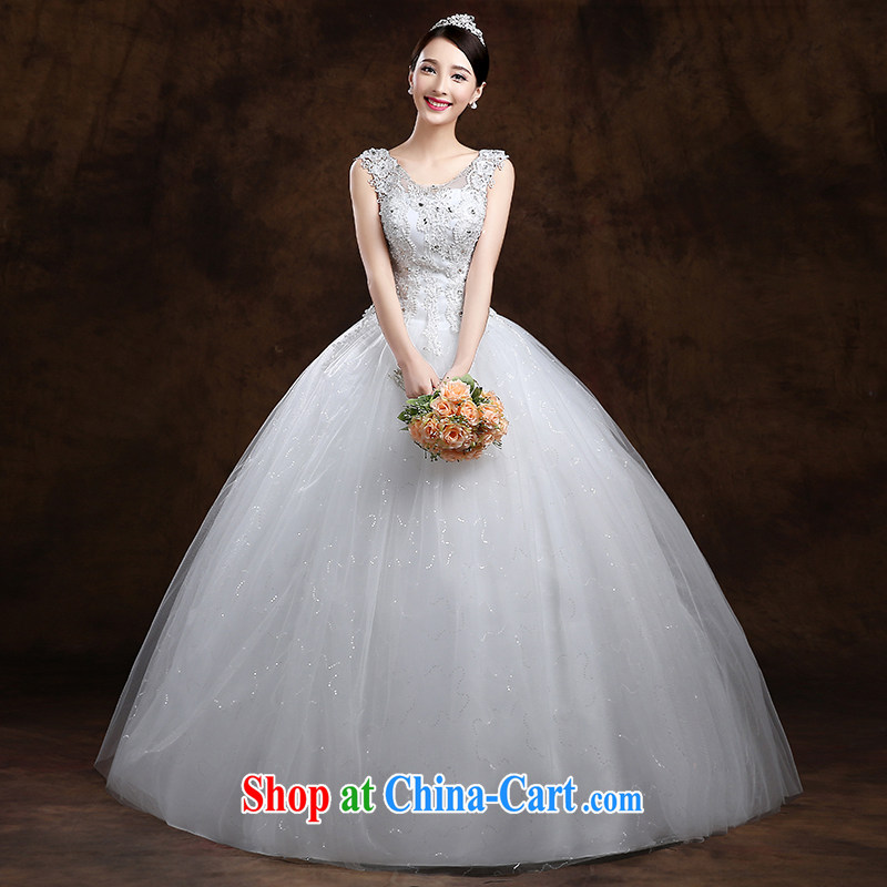 White home about wedding dresses spring 2015 new Korean version simple shoulders with graphics thin marriages wedding white XXL