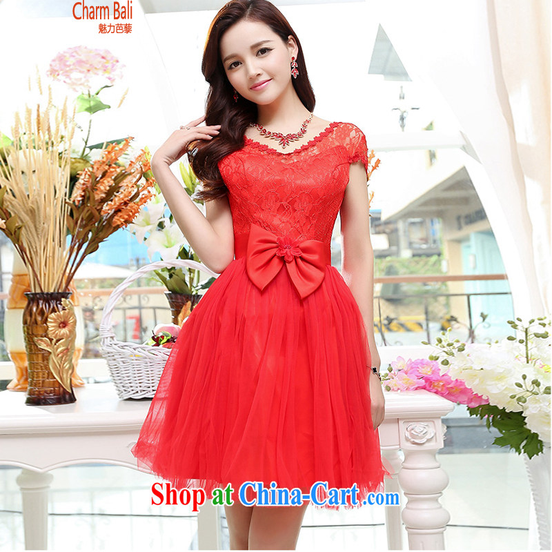 Barbie charm and Asia 2015 new stylish popularity V collar short-sleeve 4 season shaggy dress skirt wedding dress red XL