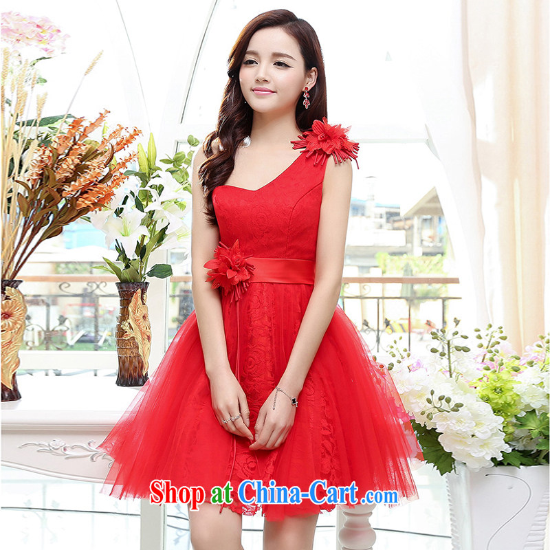 2015 new Korean Beauty Fashion THE SHOULDER shaggy dress skirt 4 season long wedding dress red XL