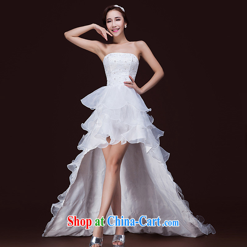 2015 spring and summer new bride marriage after a long Korean tail erase chest wedding dresses with white petals XL
