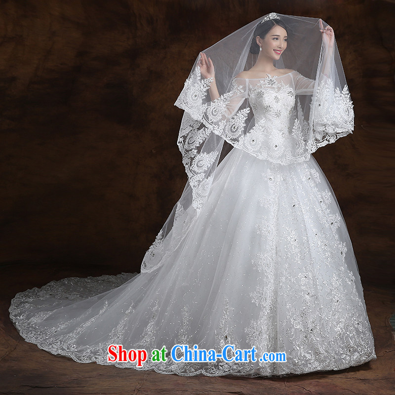 White first about Korean-style field shoulder the tail wedding beauty bridal wedding dresses new 2015 spring and summer wedding tailored contact Customer Service