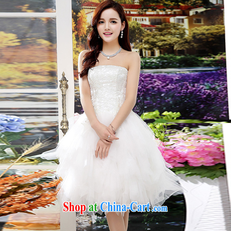 2015 summer edition Korea beauty plastic stylish lace bare chest, long, Shaggy wedding dresses skirt white XL