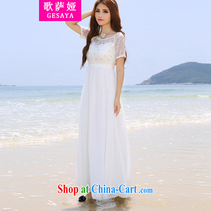 Song, Julia 2015 Korean version Maldives beach dress wedding nails Pearl inserts drill dress long dress white XL