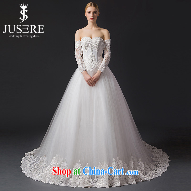 It is the JUSERE high-end wedding dresses 2015 new erase chest long-sleeved removable bridal wedding dress small tail with wedding white tailored