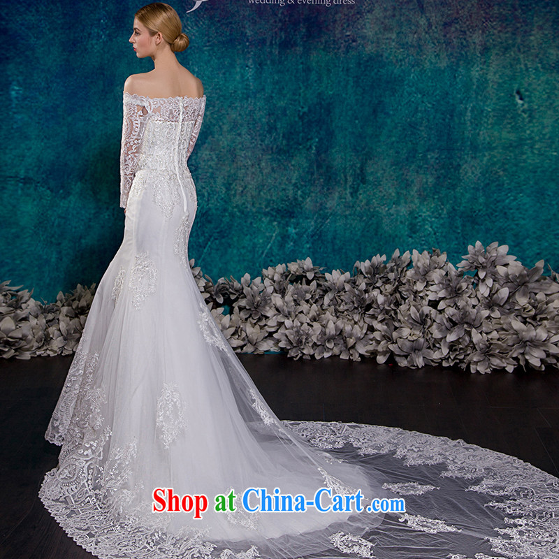 It Is The Jusere High End Wedding Dresses 2017 New Field Shoulder Long Sleeved Crowsfoot Tail Bridal Marriage Beauty Graphics Thin