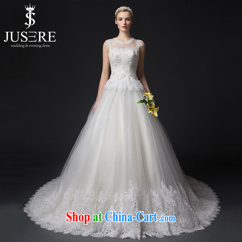 It is not the JUSERE high-end wedding dresses 2015 new round-collar Openwork nails Pearl bridal wedding dress with wedding small tail beauty graphics thin white tailored