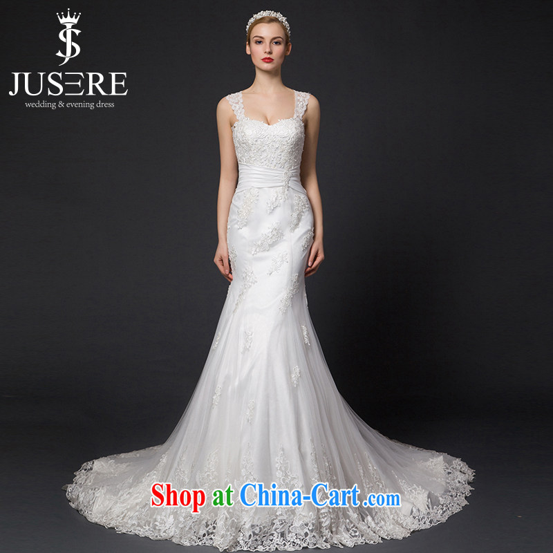 It is the JUSERE high-end wedding dresses 2015 New Dual shoulder straps, wedding wedding crowsfoot small tail bridal wedding dresses wedding white 4