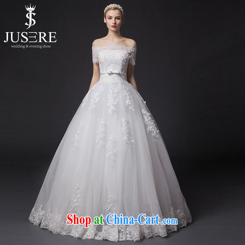 It is the JUSERE high-end wedding dresses 2015 new wedding field shoulder short-sleeved wedding dresses bridal wedding dress with wedding beauty graphics thin white tailored