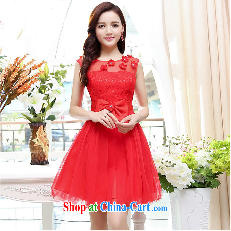2015 summer edition Korea beauty plastic stylish lace round-collar sleeveless, long, Shaggy wedding dresses skirt red XL