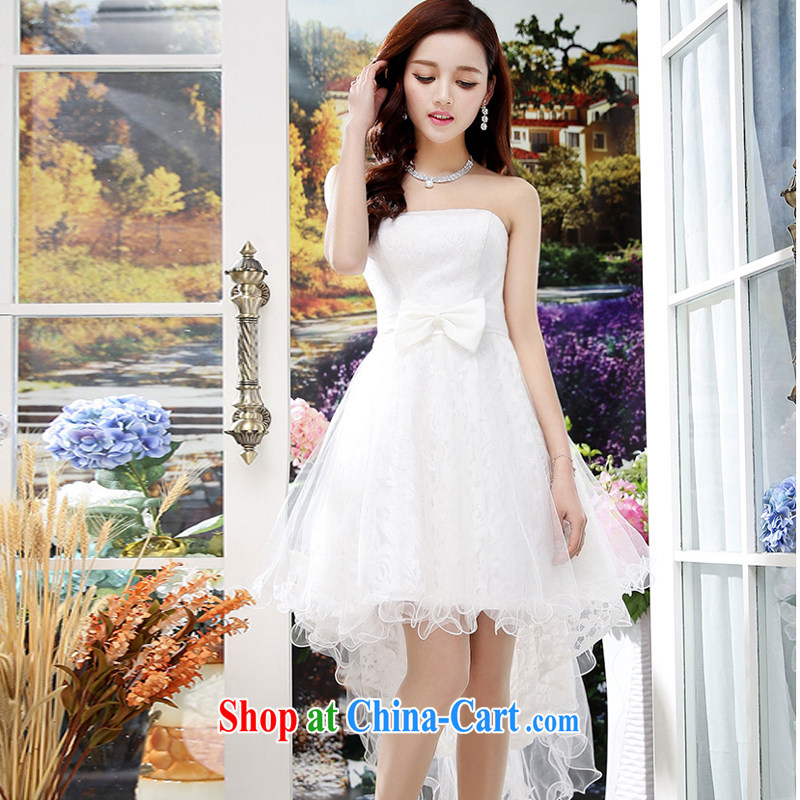 2015 summer edition Korea beauty plastic stylish lace bare chest, long, Shaggy wedding dresses skirt white M