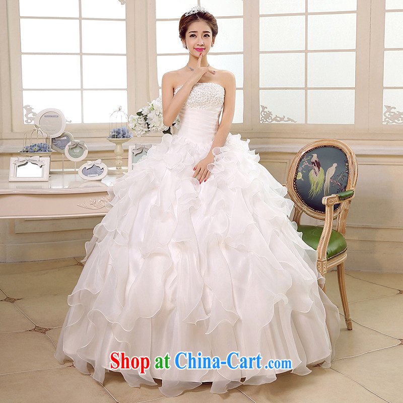 There is a bride's Korean version wiped his chest wedding white Princess tie-in with new 2015 bridal gown spring and summer beauty marriage video thin white tailored is not returned.