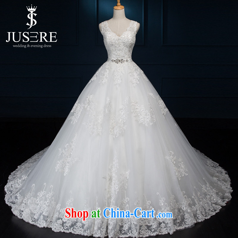 It is the JUSERE high-end wedding dresses spring 2015 double-shoulder wedding dresses, Japan, and South Korea wedding bridal wedding dress tail wedding white tailored