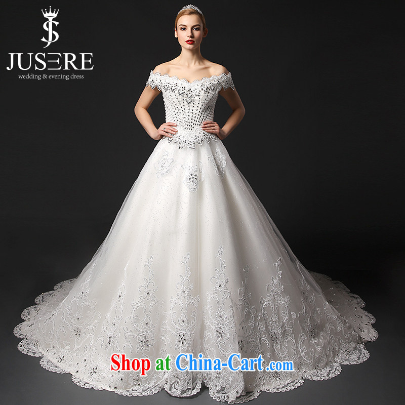 It is the JUSERE high-end wedding dresses spring 2015 the Field shoulder luxury, Japan, and South Korea wedding bridal wedding dress tail wedding white tailored
