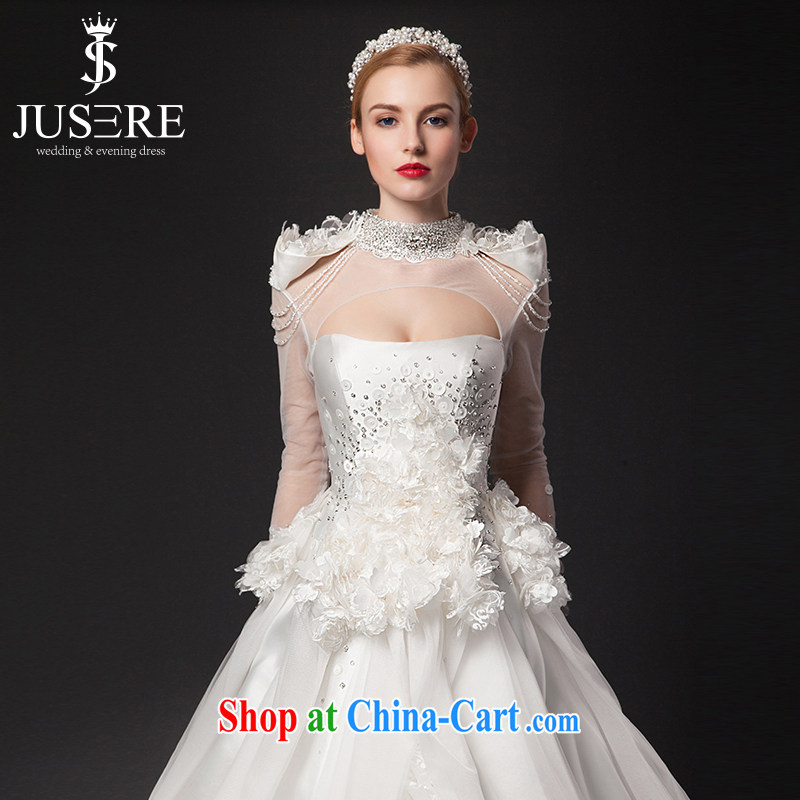 It is the JUSERE high-end wedding dresses 2015 new luxurious High-tail the Field shoulder bridal wedding dress Royal Palace wedding white tailored