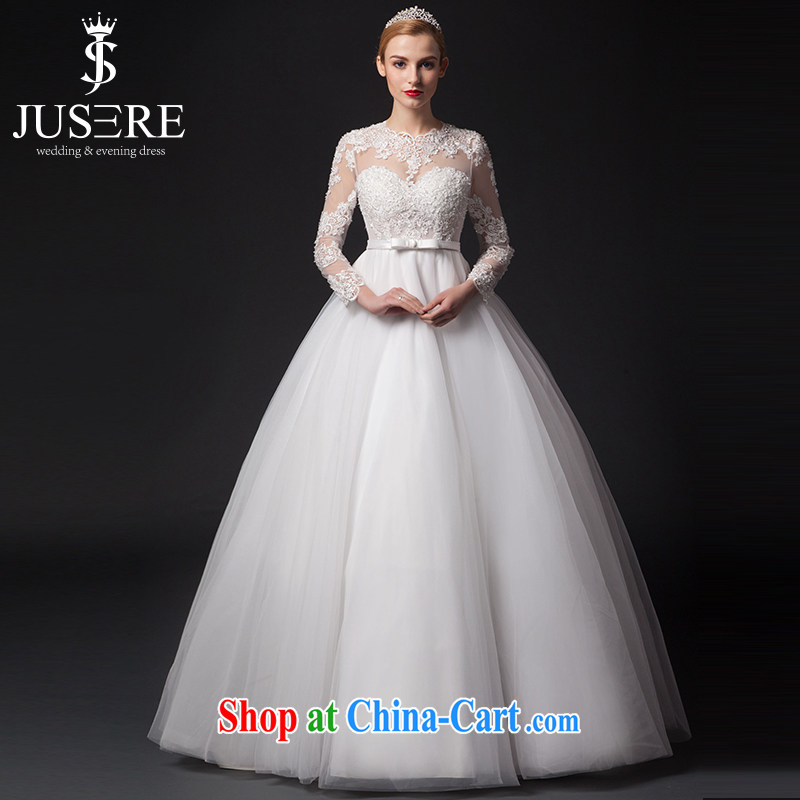 It is the JUSERE high-end wedding dresses 2015 new paragraph to align wedding long-sleeved transparent lace Princess skirt yarn Home Sweet shaggy skirts long-sleeved wedding dresses white tailored
