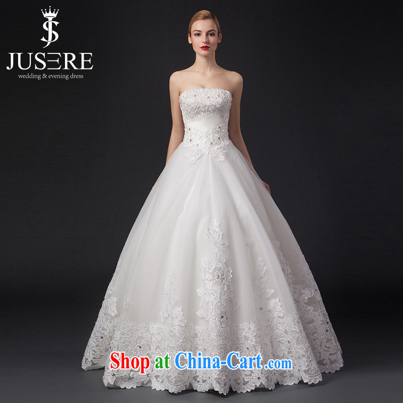 It is the JUSERE high-end wedding dresses 2015 new alignment to erase chest wedding dress Princess Home Sweet yarn shaggy dress Satin wedding white tailored
