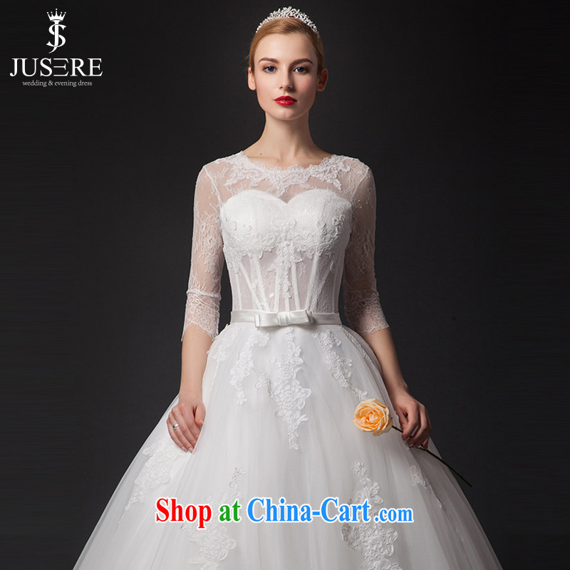 It is not the JUSERE high-end wedding dresses 2015 New-tail wedding round-collar long-sleeved transparent lace bare chest white tailored