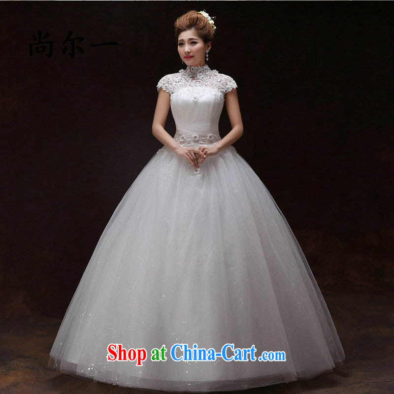 There are optimized color Kingfisher field shoulder wedding dresses 2015 new paragraph to align with graphics thin bride Korean lace package shoulder sleeves spring and summer, 6115 XS white XXL
