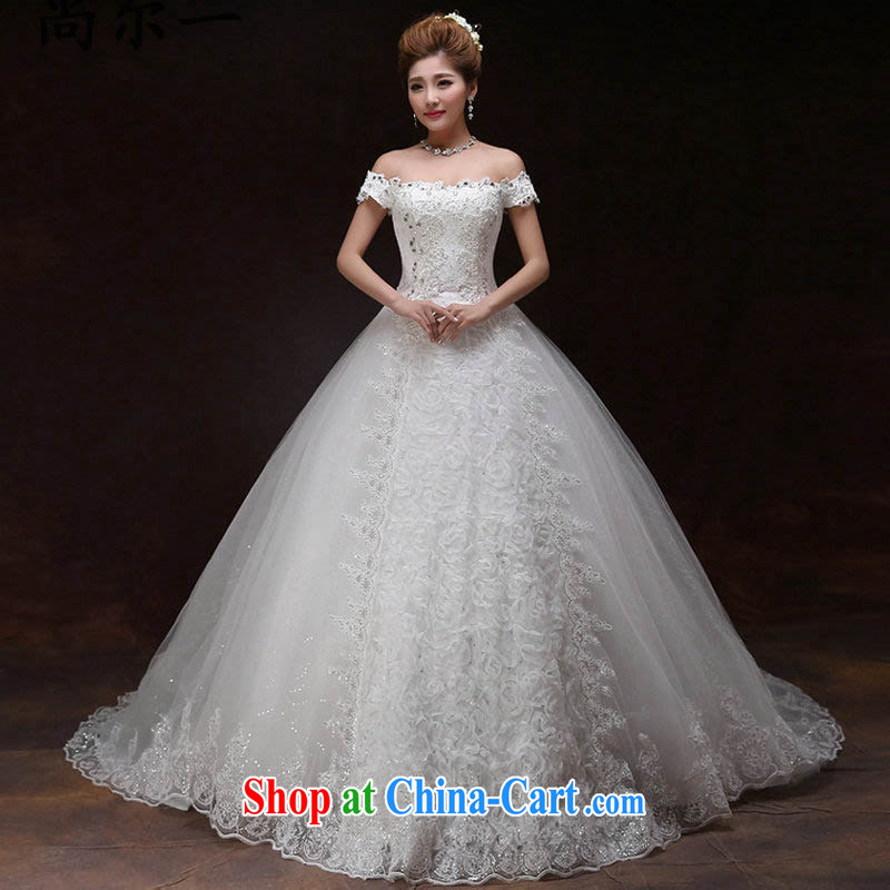 It is also optimized their bridal wedding dresses with drag and drop, the new 2015 Korean-style spring field shoulder trendy code graphics thin lace drill XS 8222 white XXL