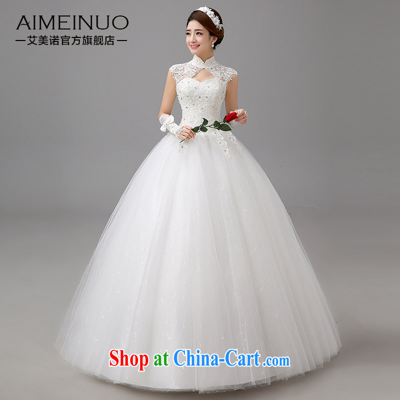 The United States, wedding dresses 2015 new lace flowers retro field shoulder Korean sweet Princess package shoulder the collar marriages H - 78 white XXL