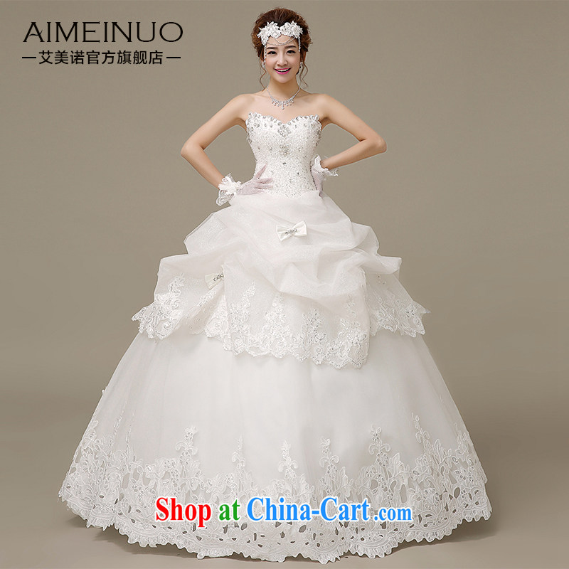 The United States, wedding dresses 2015 spring and summer water drilling wiped his chest bow-tie lace parquet tied with Korean version with Princess bride wedding H - 49 white XXL