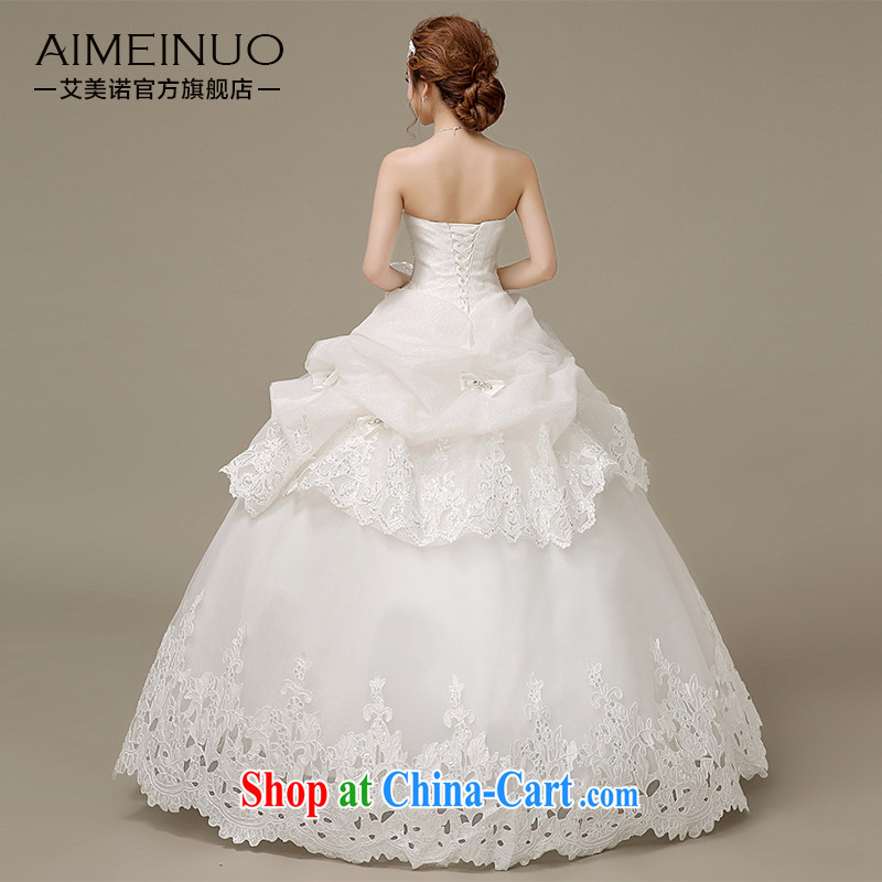 The United States, wedding dresses 2015 spring and summer water drilling wiped his chest bow-tie lace parquet tied with Korean version with Princess bride wedding H - 49 white XXL, AIDS, and the United States (Imeinuo), online shopping