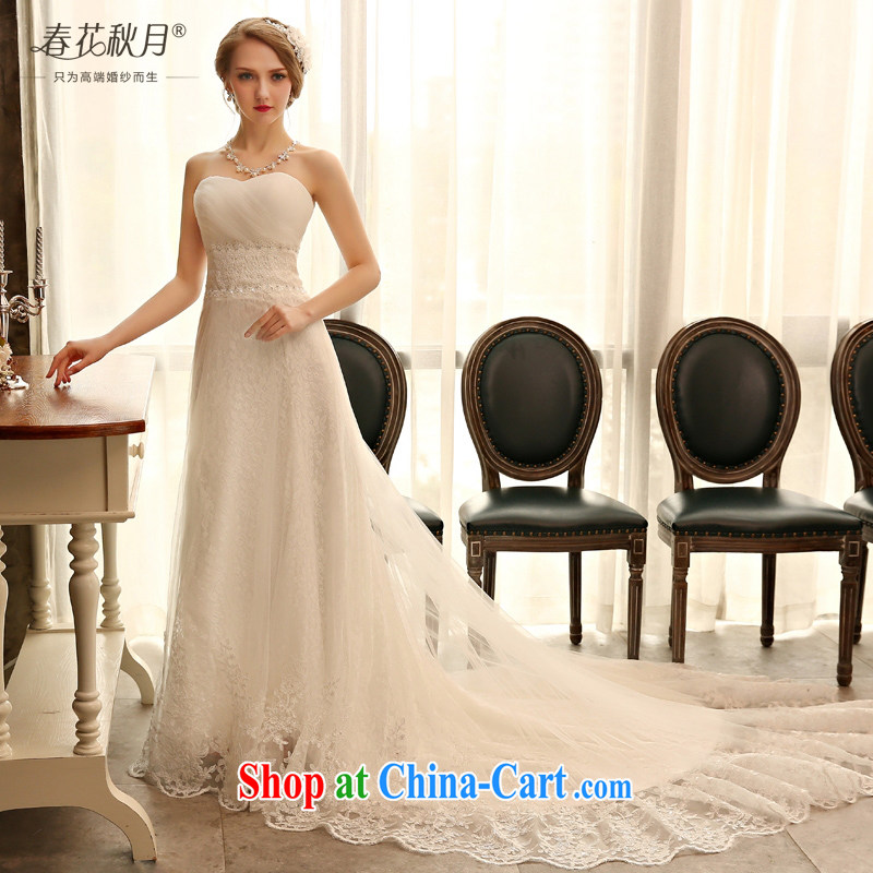 Blooming crazy lace crowsfoot wedding dresses 2015 spring and summer new bride wiped chest Korean luxury long-tail white XXL